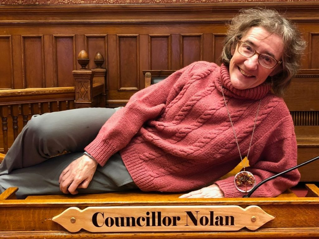 Councillor Nolan in the Council Chamber